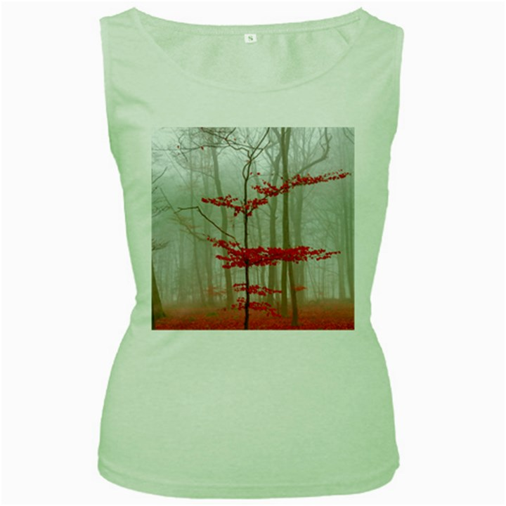 Magic forest in red and white Women s Green Tank Top