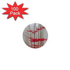 Magic Forest In Red And White 1  Mini Buttons (100 Pack)