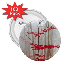 Magic Forest In Red And White 2 25  Buttons (100 Pack)