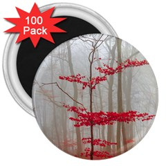 Magic forest in red and white 3  Magnets (100 pack)