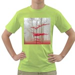 Magic forest in red and white Green T-Shirt Front