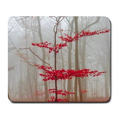 Magic forest in red and white Large Mousepads