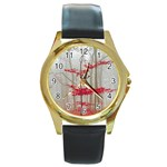 Magic forest in red and white Round Gold Metal Watch Front