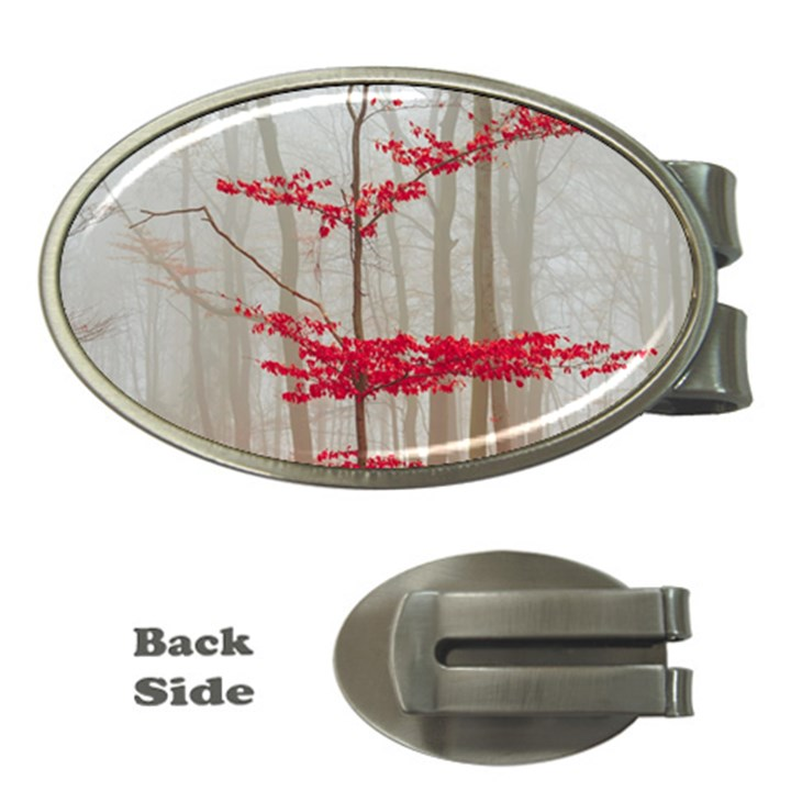 Magic forest in red and white Money Clips (Oval)