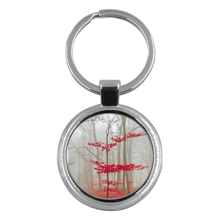 Magic forest in red and white Key Chains (Round)