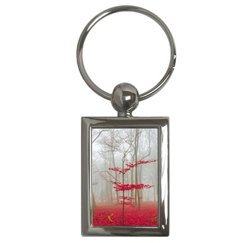 Magic forest in red and white Key Chains (Rectangle)