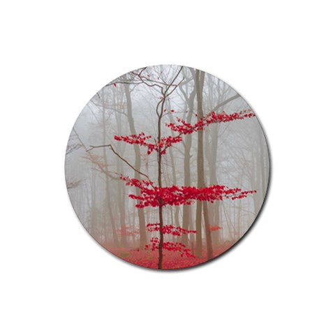 Magic forest in red and white Rubber Coaster (Round)