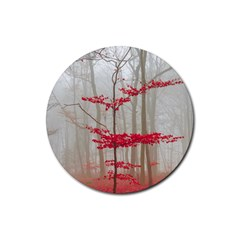 Magic Forest In Red And White Rubber Round Coaster (4 Pack)