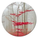 Magic forest in red and white Magnet 5  (Round) Front