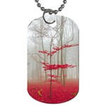 Magic forest in red and white Dog Tag (Two Sides) Front