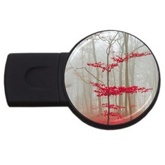 Magic forest in red and white USB Flash Drive Round (2 GB)