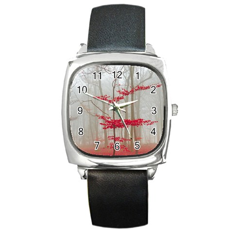 Magic forest in red and white Square Metal Watch