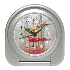 Magic forest in red and white Travel Alarm Clocks