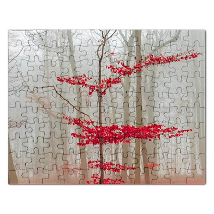 Magic forest in red and white Rectangular Jigsaw Puzzl