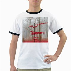 Magic Forest In Red And White Ringer T Shirts