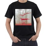 Magic forest in red and white Men s T-Shirt (Black) (Two Sided) Front