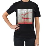 Magic forest in red and white Women s T-Shirt (Black) (Two Sided) Front