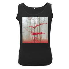 Magic forest in red and white Women s Black Tank Top