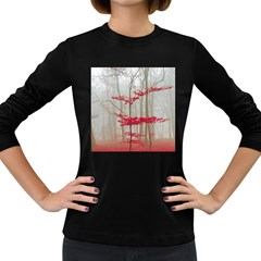 Magic Forest In Red And White Women s Long Sleeve Dark T Shirts