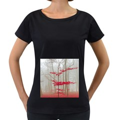 Magic Forest In Red And White Women s Loose Fit T Shirt (black)