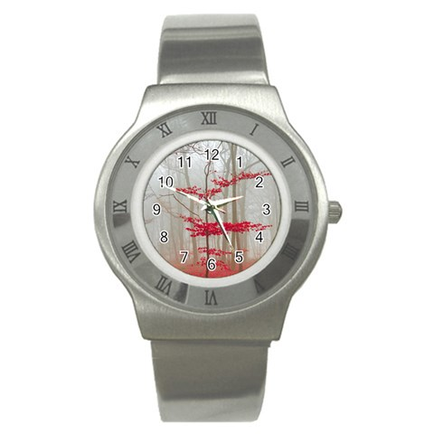 Magic forest in red and white Stainless Steel Watch