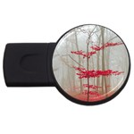 Magic forest in red and white USB Flash Drive Round (4 GB)  Front