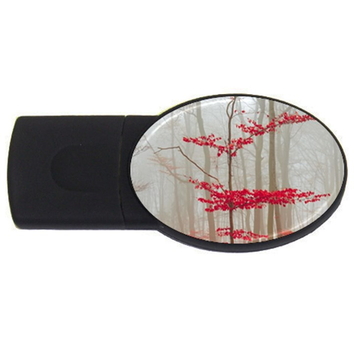 Magic forest in red and white USB Flash Drive Oval (4 GB)