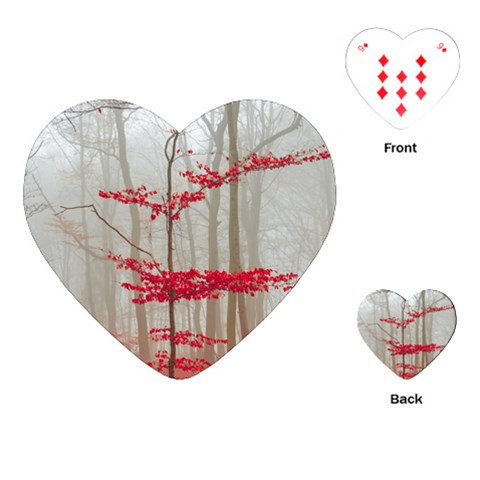 Magic forest in red and white Playing Cards (Heart)