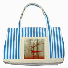 Magic Forest In Red And White Striped Blue Tote Bag