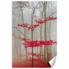 Magic forest in red and white Canvas 24  x 36