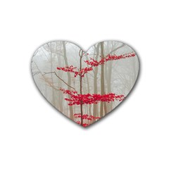Magic forest in red and white Rubber Coaster (Heart)
