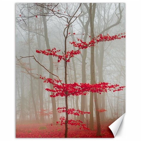 Magic forest in red and white Canvas 11  x 14