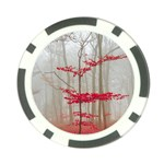 Magic forest in red and white Poker Chip Card Guards Front