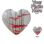 Magic forest in red and white Multi-purpose Cards (Heart)  Back 13
