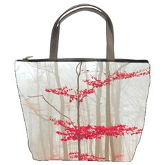 Magic forest in red and white Bucket Bags