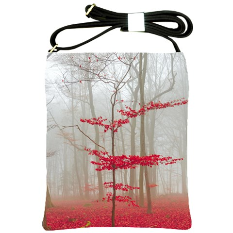 Magic forest in red and white Shoulder Sling Bags