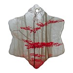 Magic forest in red and white Snowflake Ornament (2-Side) Back