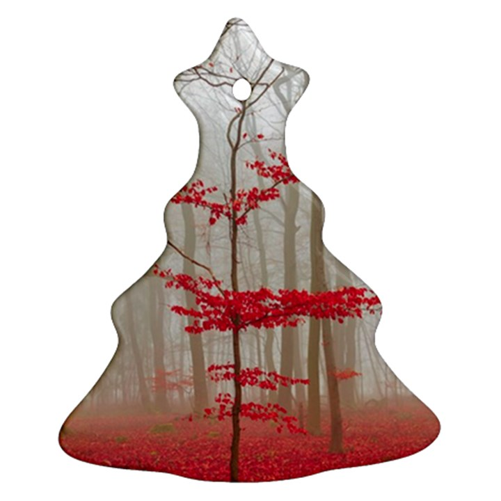 Magic forest in red and white Christmas Tree Ornament (2 Sides)