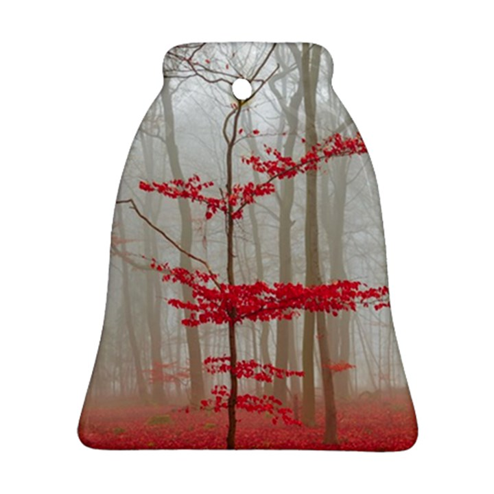 Magic forest in red and white Bell Ornament (2 Sides)