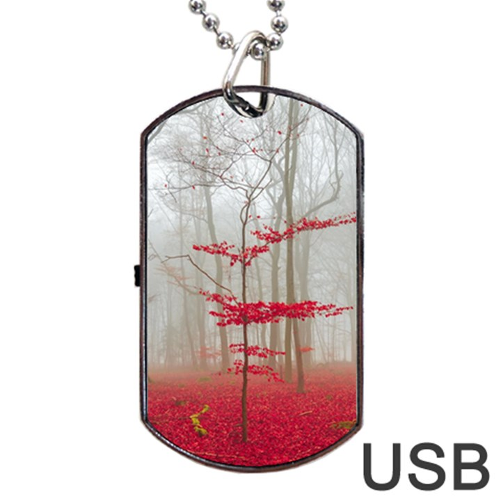 Magic forest in red and white Dog Tag USB Flash (One Side)