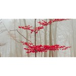 Magic forest in red and white Twin Heart Bottom 3D Greeting Card (8x4) Front