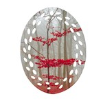 Magic forest in red and white Oval Filigree Ornament (2-Side)  Front