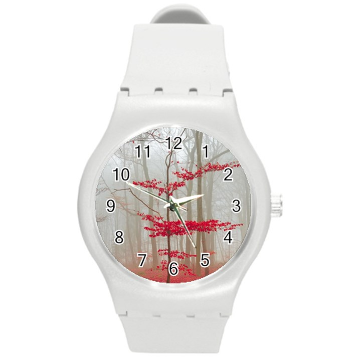 Magic forest in red and white Round Plastic Sport Watch (M)