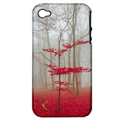 Magic Forest In Red And White Apple Iphone 4/4s Hardshell Case (pc+silicone)