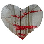 Magic forest in red and white Large 19  Premium Heart Shape Cushions Front