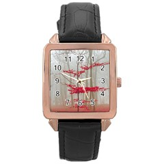Magic Forest In Red And White Rose Gold Leather Watch