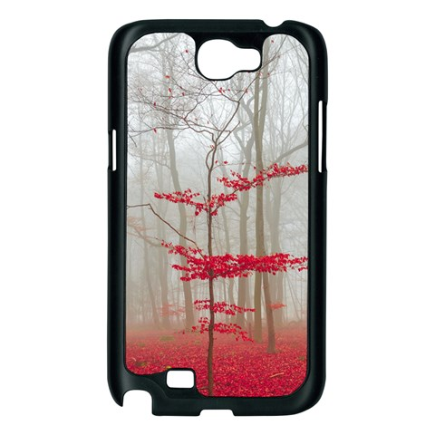 Magic forest in red and white Samsung Galaxy Note 2 Case (Black)