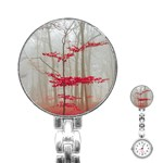 Magic forest in red and white Stainless Steel Nurses Watch Front