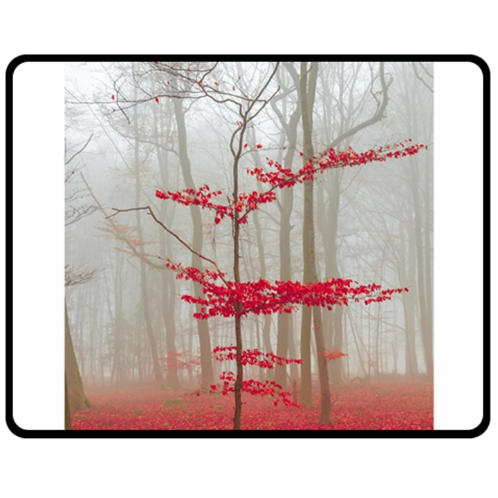 Magic forest in red and white Double Sided Fleece Blanket (Medium)