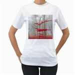 Magic forest in red and white Women s T-Shirt (White)  Front